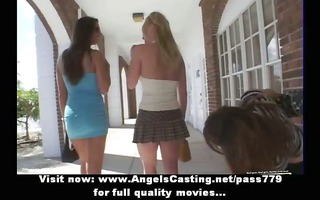 lesbian three-some with college gals undressing