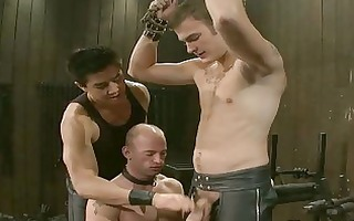 excited homosexual hunk receives servitude and