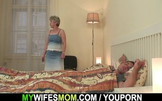 excited granny seduces him but wife finds out!
