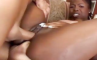hawt ebony momma receives double penetrated by