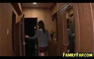 youthful gal helps her step father