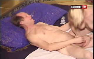 young blonde give oral-job