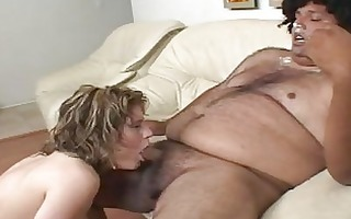 pale golden-haired doxy gives fat dark hunk a