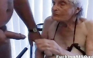 senile wrinkled granny gives oral pleasure and is