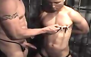 white top dom using his darksome bottom serf homo