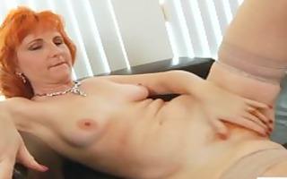 redhead milf bonks bushy slit