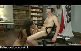 breasty lady-man sucks cock to chained lad