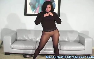 stockings fetish brunette hair stripping off