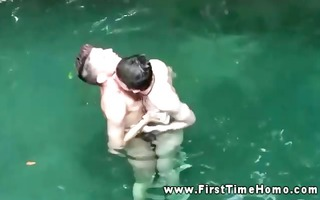excited twink amateurs engulfing in pool