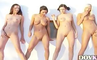 five sweethearts doing striptease