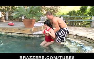 large tit hot pool teacher gives massage