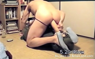 dad riding his toy on his ass