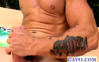 exposed guys studly muscle guy trenton is tugging