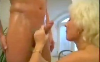 golden-haired older mama drilled in the bath
