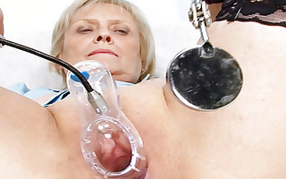 blond granny nurse self exam with bawdy cleft