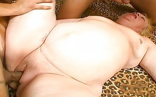 excited fellows share one plump granny meat