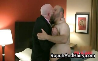 overweight unshaved homosexual man has great sex