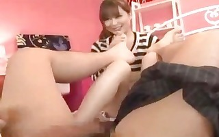 oriental girl engulfing chap toes and dick