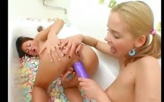girls in baths tube eat widen chocolate hole