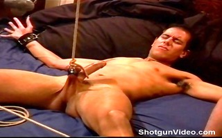 cbt youthful built dude ball stretching session