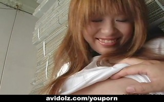 lewd japanese legal age teenager pleases her wet