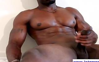 muscled ebon chap jerks his large ramrod