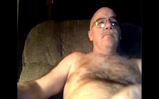 silver furry daddy watching porn and cums on his