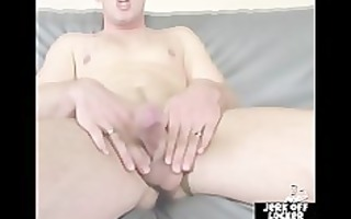 golden-haired large chap shows his booty