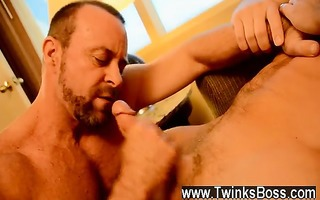 sexy twink the boss receives threesome muscle