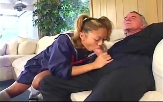 oldman drilled wife and maid