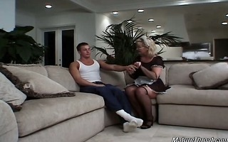 sexy and hot golden-haired mature maid acquires