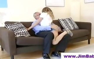 hot babe is jerking off old chap