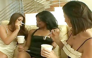 lesbo trio with brunette hair cuties undressing
