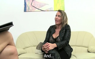 mature woman fucking on leather daybed