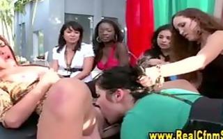 cfnm lesbo acquires ejaculation after eating slit