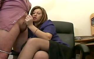 sexy aged secretary jerks the ball ball batter