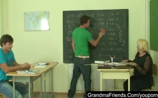 nasty old teacher is nailed by two juvenile