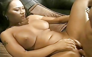 breasty thai gal acquires her bushy minge boned