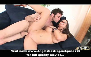undressed dilettante pair having sex on bed with