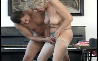 grandma gets a face full of cum