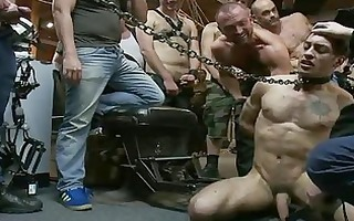 tattooed muscled chap acquires shackled and