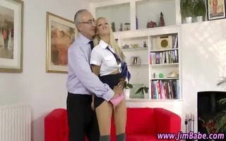 aged lad watches younger gal oral-service