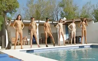 six naked angels by the pool from france
