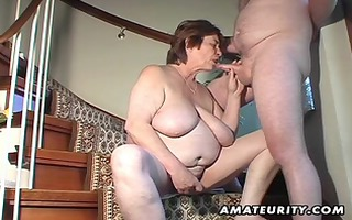 obese non-professional wife toys and sucks and