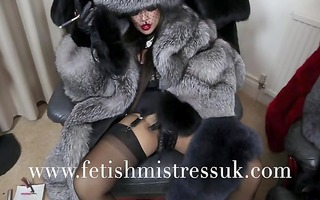 fur fetish and leather gloves