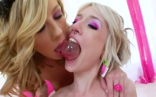 unfathomable lesbo wazoo licking and toying