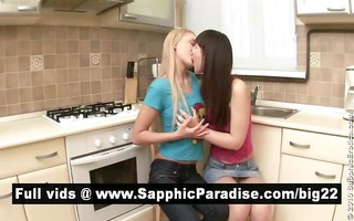 charming brunette hair and blond lesbos giving a