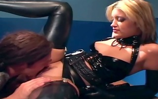 blond in a uniform and latex underware fucking