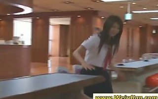 nasty oriental cutie receives muff vibrated