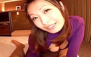 glamorous japanese stewardess engulfing hard